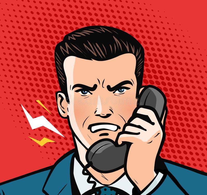 сердитый говорить телефона человека владение домашнего ключа принципиальной схемы дела золотистое достигая небо к Стиль искусства иллюстрация штока