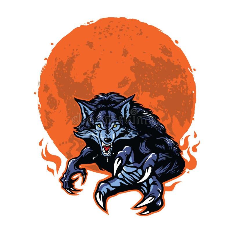 Сердитый дизайн вектора шаблона логотипа оборотня и луны иллюстрация штока