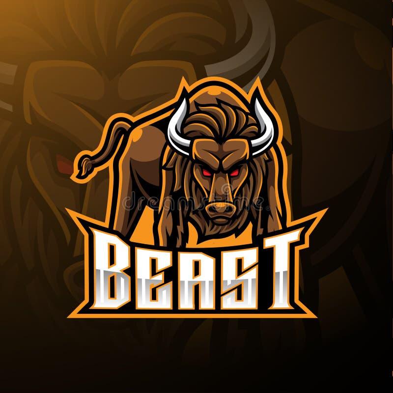 Сердитый дизайн логотипа талисмана быка иллюстрация штока