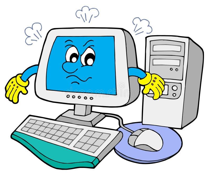 сердитый компьютер иллюстрация штока