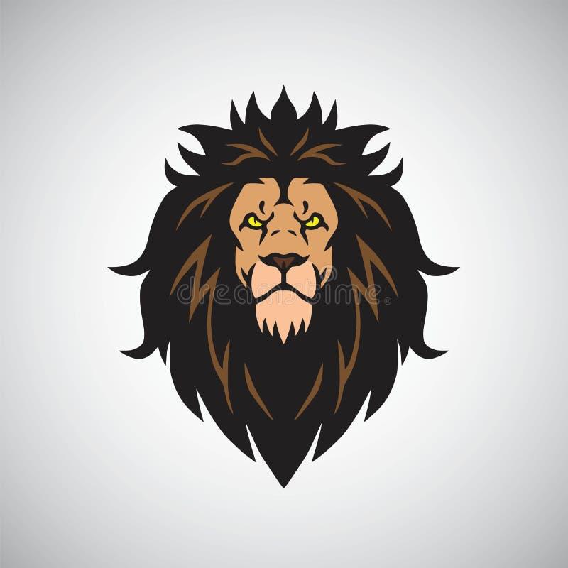 Сердитый король Голова Логотип Конструировать Талисман льва бесплатная иллюстрация