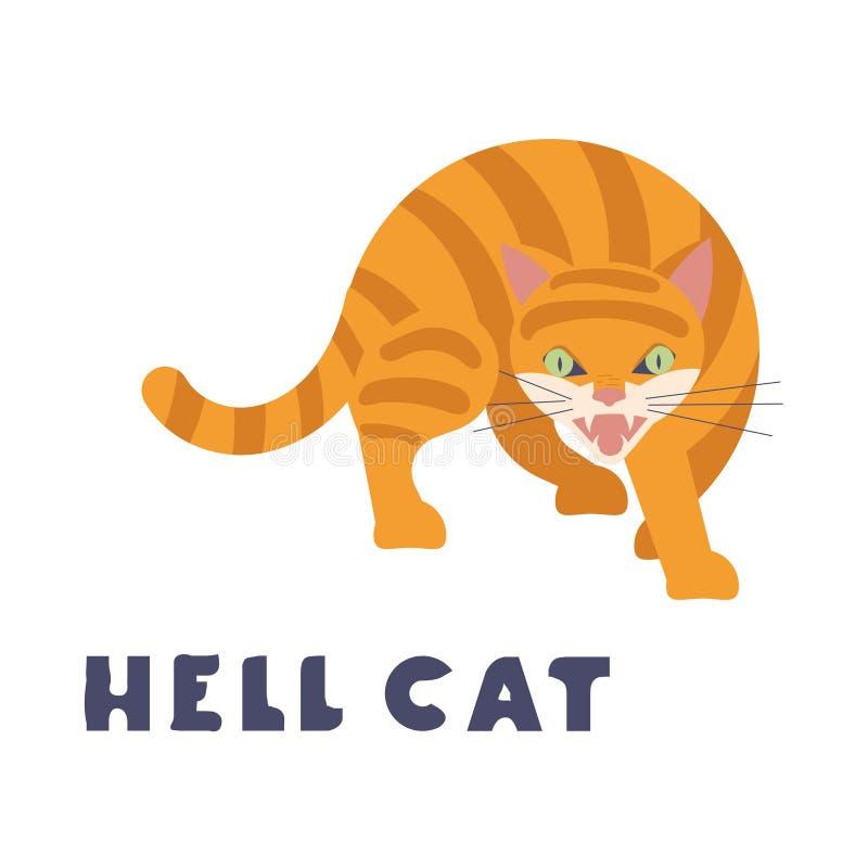 Сердитый красный кот от ада сдобрил его назад бесплатная иллюстрация