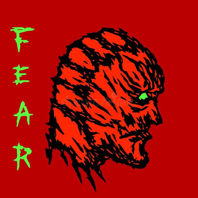 Сердитый красный профиль головы изверга также вектор иллюстрации притяжки corel иллюстрация штока