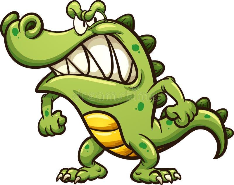 Сердитый крокодил шаржа бесплатная иллюстрация