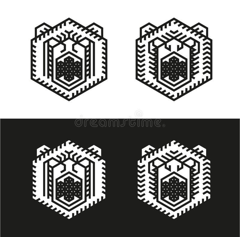 Сердитый логотип медведя иллюстрация вектора