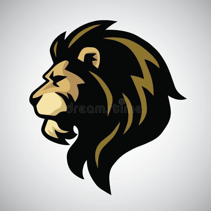 Сердитый логотип талисмана головы льва иллюстрация вектора