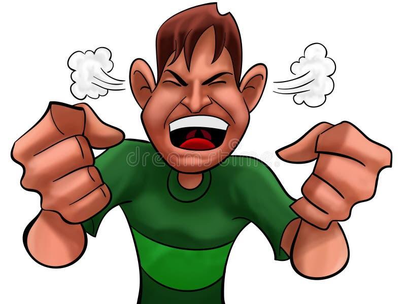 сердитый мальчик иллюстрация вектора