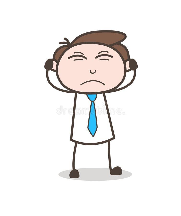 Сердитый молодой бизнесмен кладя руки на вектор ушей иллюстрация штока