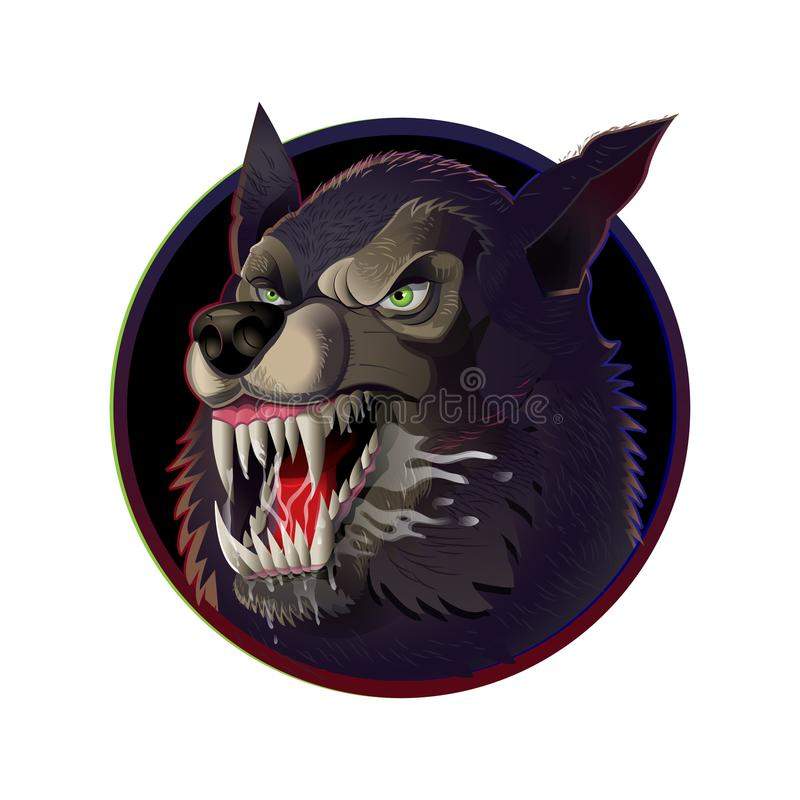 Сердитый одичалый волк иллюстрация штока