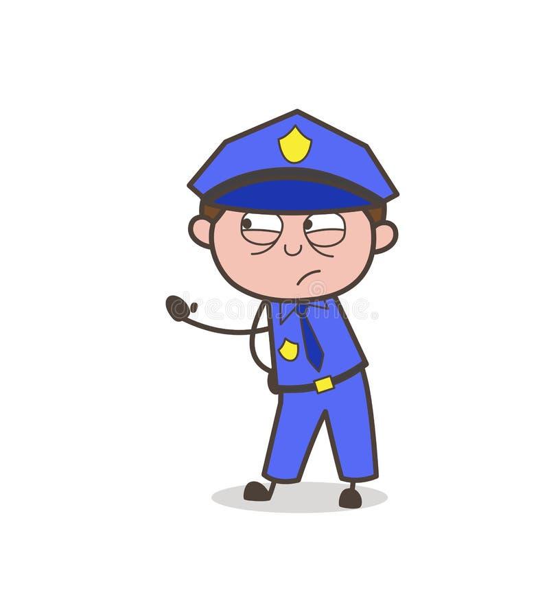 Сердитый офицер показывая вектор руки бесплатная иллюстрация