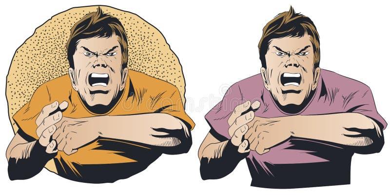 Сердитый парень хочет воевать Иллюстрация запаса бесплатная иллюстрация