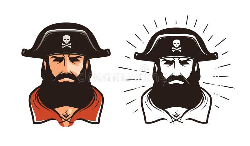 сердитый пират Портрет бородатого флибустьера в шляпе alien кот шаржа избегает вектор крыши иллюстрации иллюстрация вектора