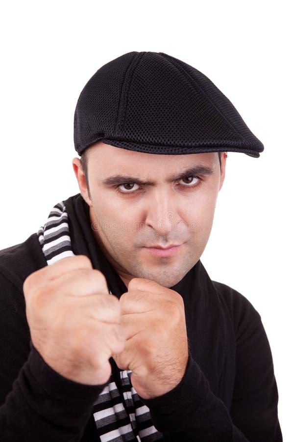 сердитый пробивать человека стоковая фотография rf