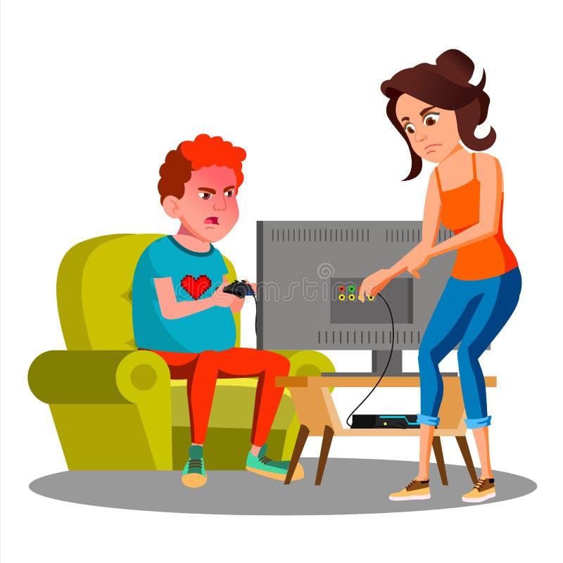 Сердитый провод вырезывания матери сына используя вектор видеоигры изолированная иллюстрация руки кнопки нажимающ женщину старта  бесплатная иллюстрация