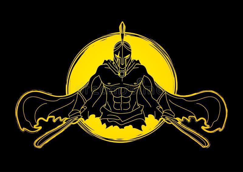 Сердитый спартанский ратник с вектором графика шпаг иллюстрация вектора