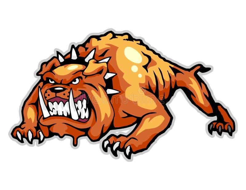 сердитый талисман шаржа бульдога смогите использовать для логотипа спорта и иллюстрации футболки иллюстрация штока