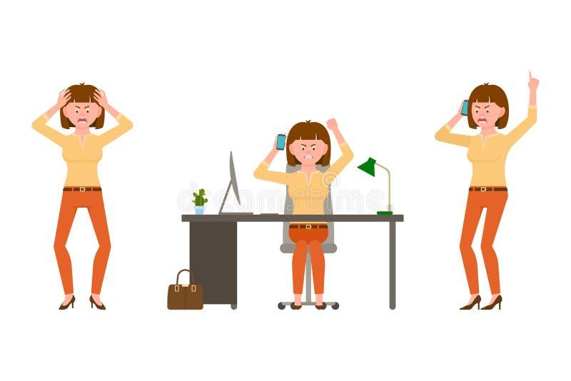 Сердитый, усиленный, женщина офиса каштановых волос в оранжевой иллюстрации вектора брюк стоковые изображения rf
