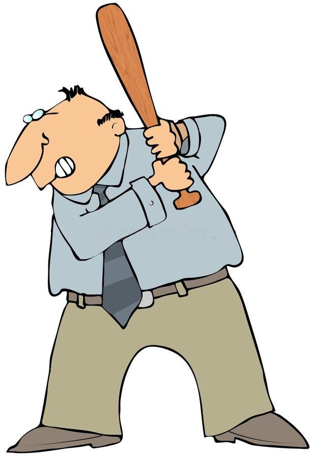 сердитый человек летучей мыши иллюстрация вектора