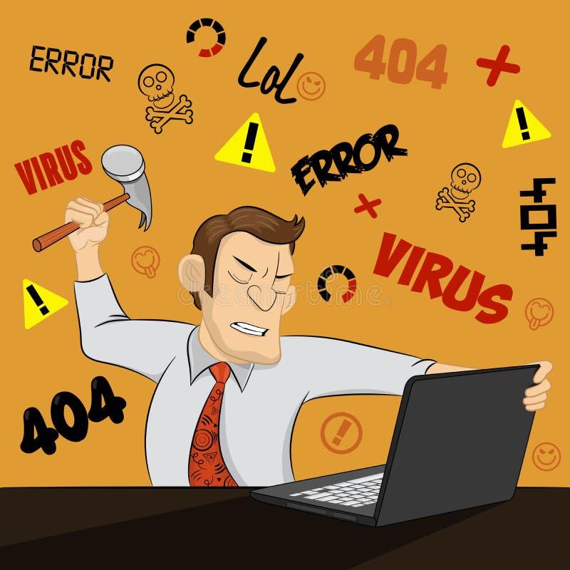 Сердитый человек разрушает его компьютер с молотком на смешной предпосылке Яростный молодой бизнесмен готовый для того чтобы поло бесплатная иллюстрация