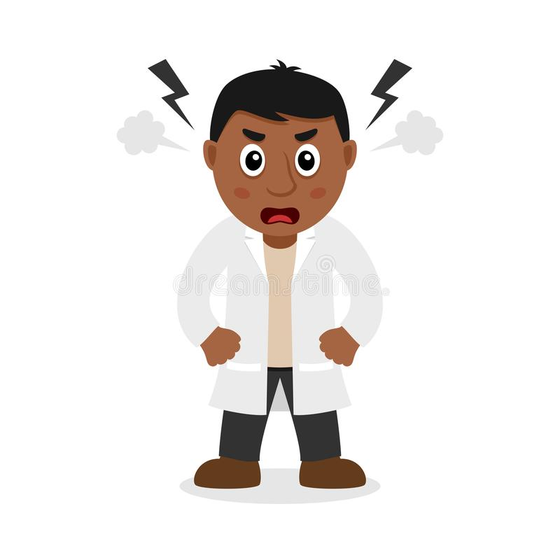 Сердитый черный мужской доктор персонаж из мультфильма иллюстрация штока