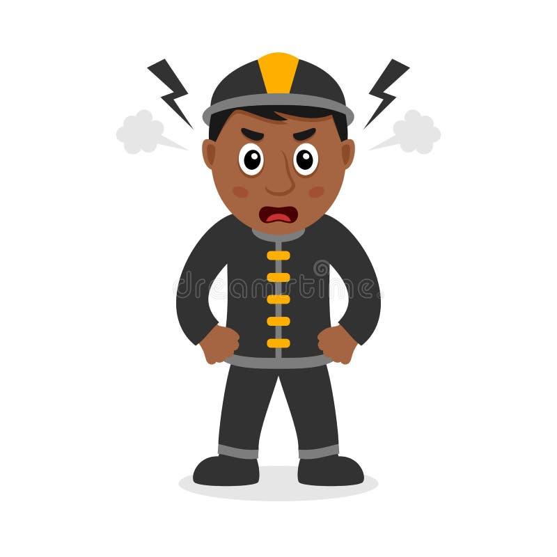 Сердитый черный персонаж из мультфильма пожарного бесплатная иллюстрация