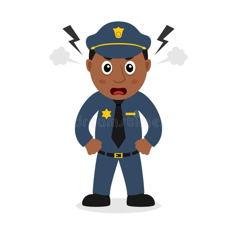 Сердитый черный персонаж из мультфильма полицейския бесплатная иллюстрация