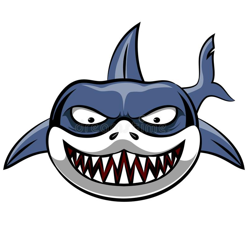 Сердитый шарж акулы иллюстрация вектора