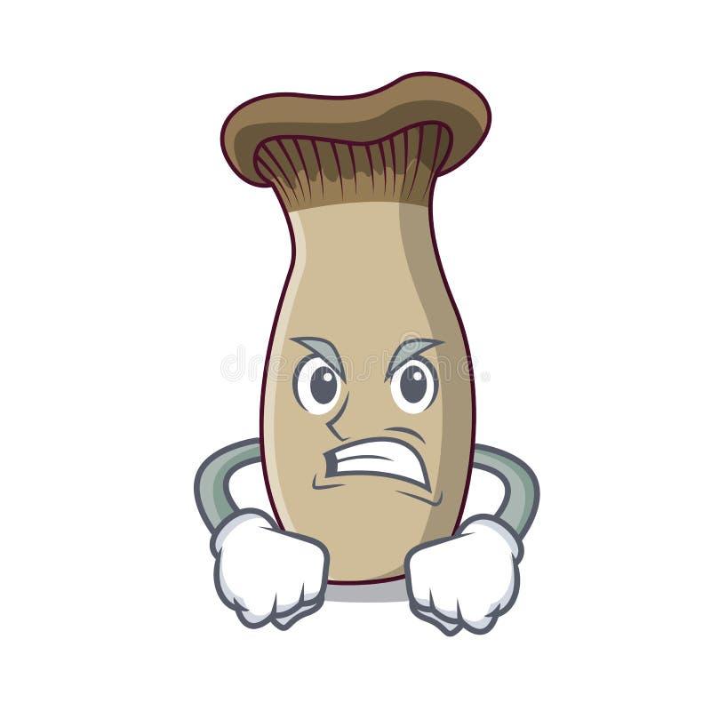 Сердитый шарж талисмана гриба трубы короля иллюстрация вектора