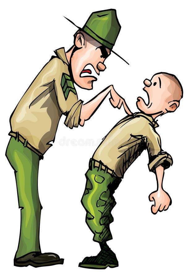 сердитый sergeant сверла шаржа иллюстрация штока