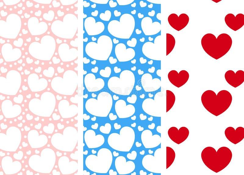 Сердца - безшовные картины на день ` s валентинки стоковое изображение rf