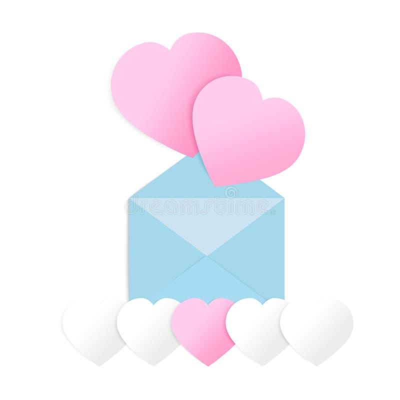Сердца валентинок с открыткой почты Бумажные элементы летая на белой предпосылке Vector символы влюбленности в форме сердца иллюстрация штока