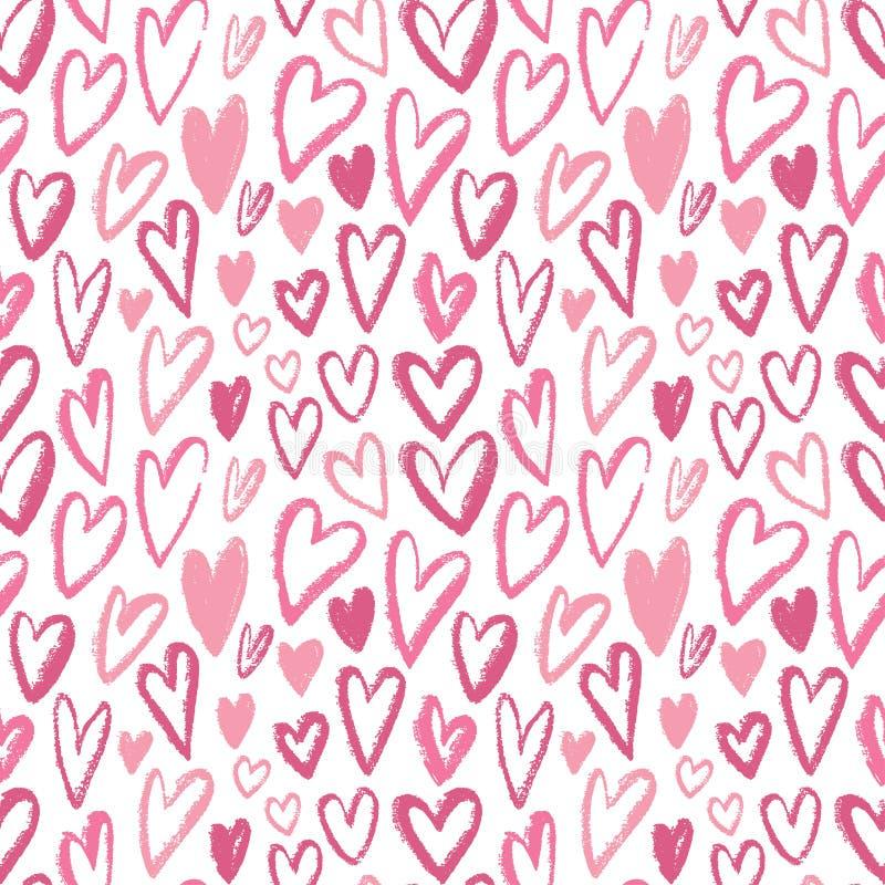 сердца делают по образцу безшовное Вектор повторяя текстуру Розовый орнамент для упаковочной бумаги, дизайна ткани детей или печа иллюстрация штока