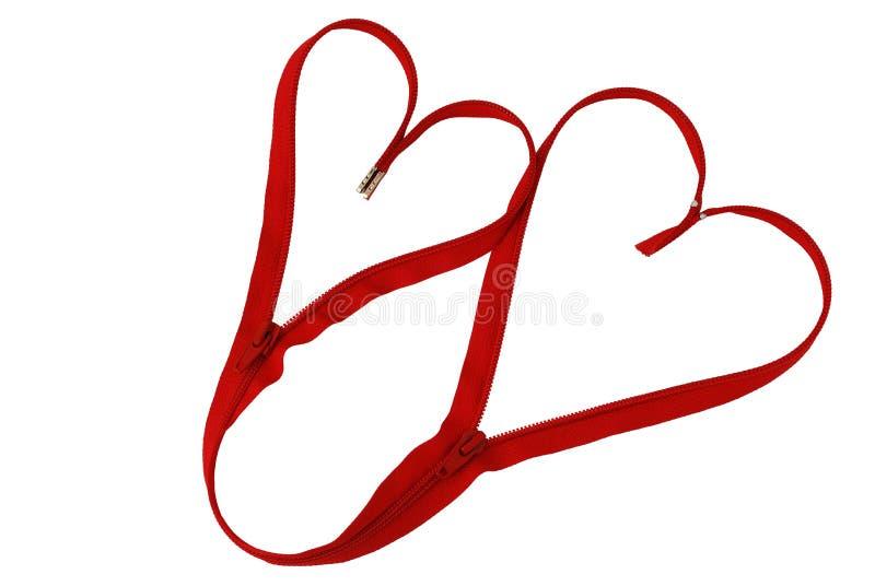 сердца дня соединили красную застежку -молнию Валентайн стоковые фото