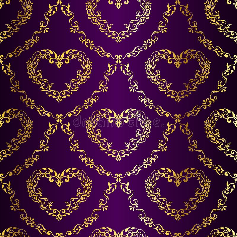 сердца золота делают по образцу пурпуровое сари безшовное иллюстрация вектора