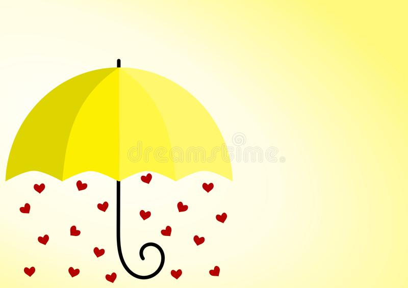 Сердца зонтика солнечности желтые иллюстрация вектора