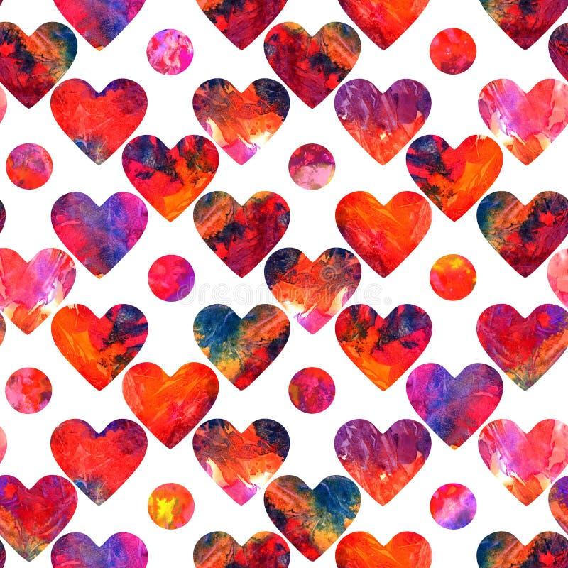 Сердца и grunge кругов абстрактный красочный брызгают в красной палитре иллюстрация вектора
