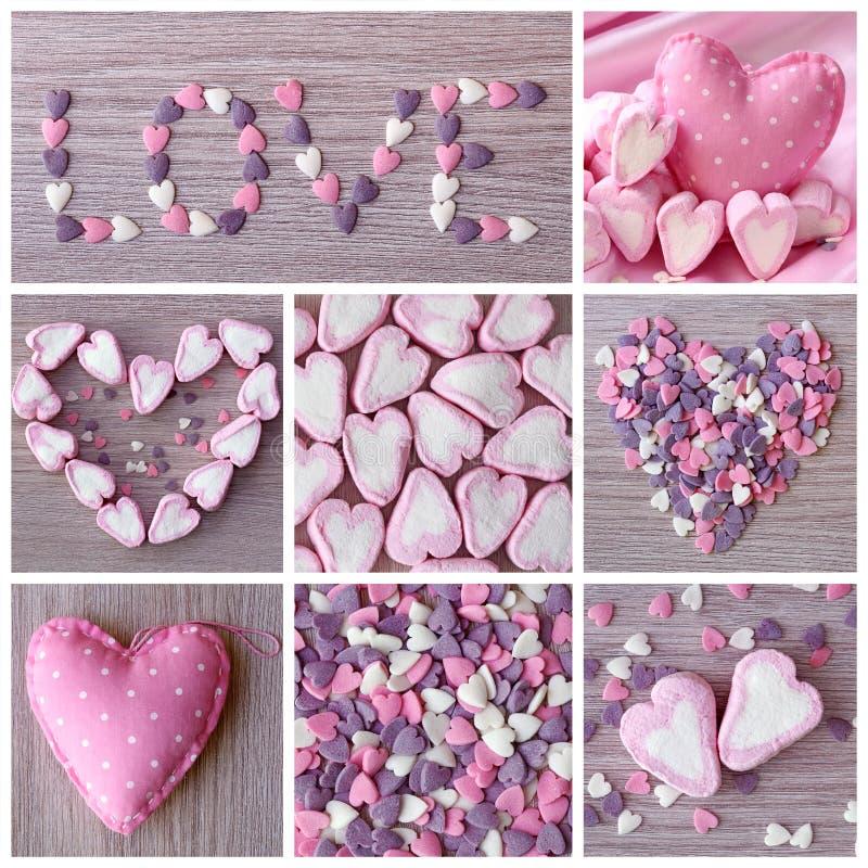 сердца коллажа сладостные стоковое фото