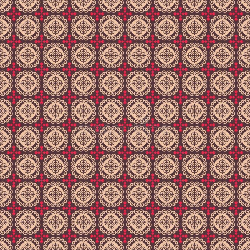 сердца коричневого цветка фольклорные делают по образцу розовое безшовное иллюстрация штока