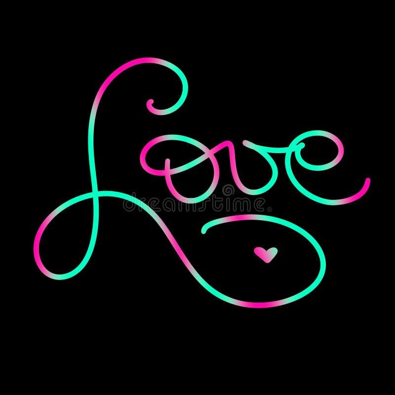 сердца красные Написанная рука помечающ буквами любовь знака с меньшим сердцем Неоновая зеленая и розовая карта цветов в стиле зм иллюстрация вектора