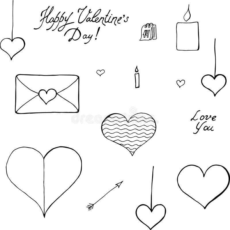 Сердца любов вектора - сердца и 14-ое февраля валентинок Святого иллюстрация вектора