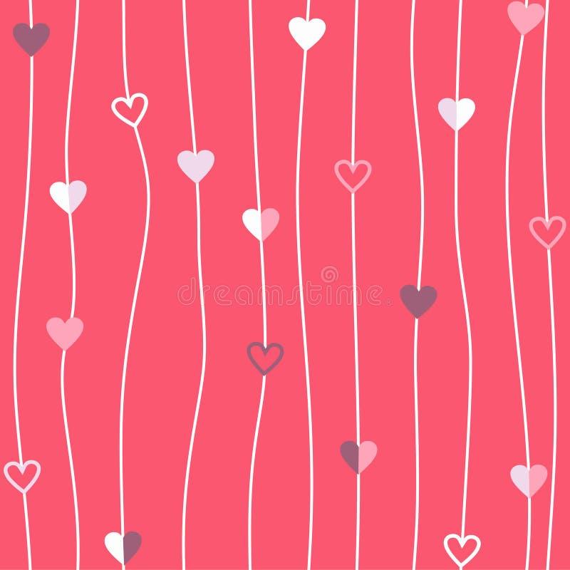 Сердца продевают нитку текстуру пинка строки конспекта картины вектора безшовную предпосылки геометрии иллюстрация штока