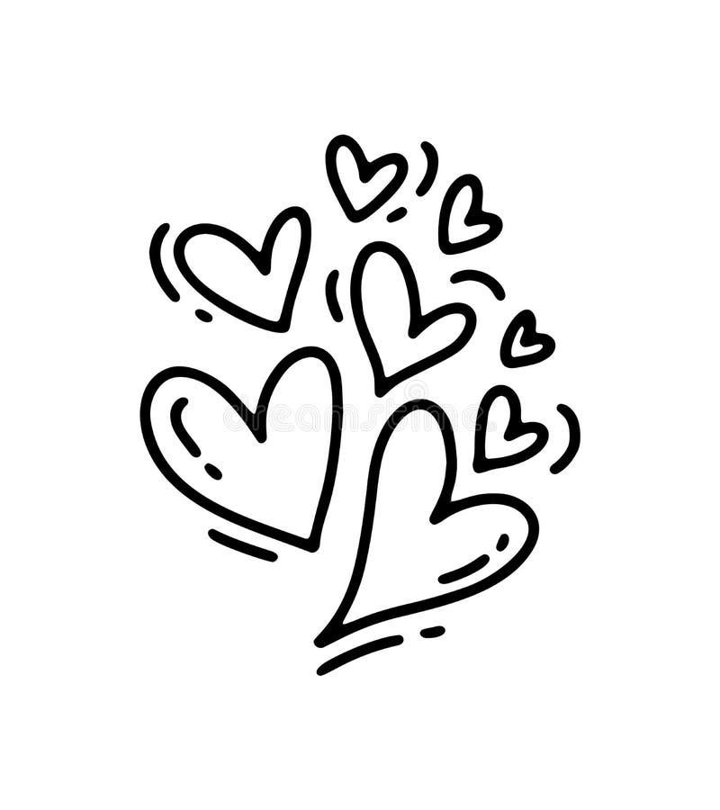 Сердца размера Monoline милые различные Значок руки дня Святого Валентина вектора вычерченный Элемент дизайна doodle эскиза празд иллюстрация штока