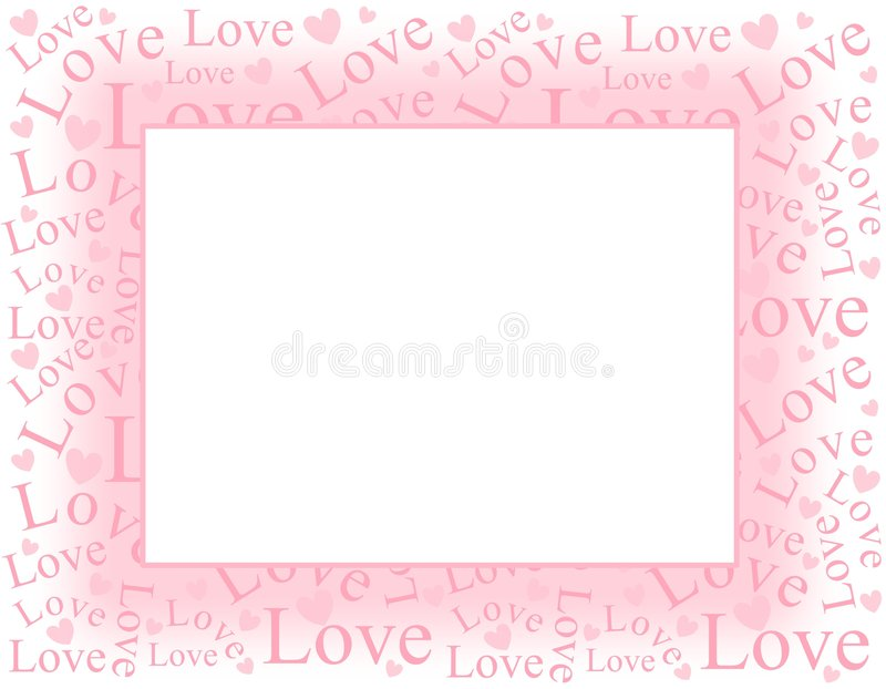сердца рамки граници любят розовую нежность иллюстрация штока
