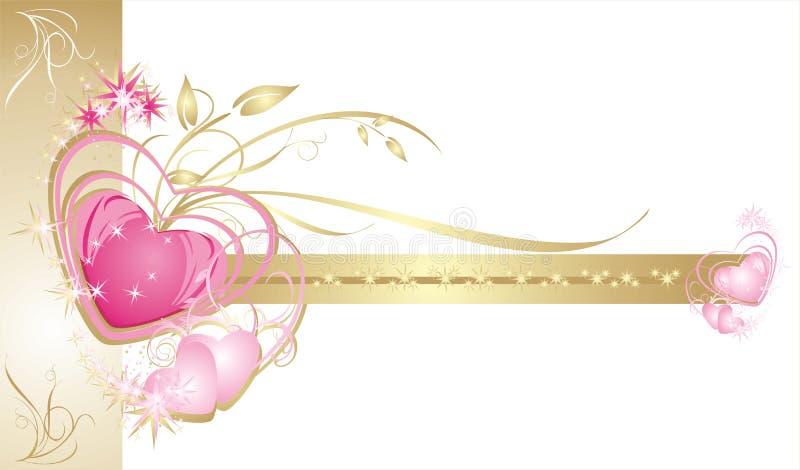 сердца рамки карточки декоративные wedding иллюстрация штока