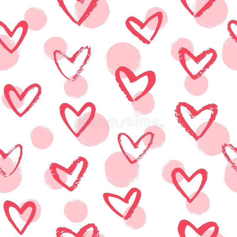 Сердца стиля Doodle нарисованные щеткой и картина вектора точек безшовная иллюстрация вектора