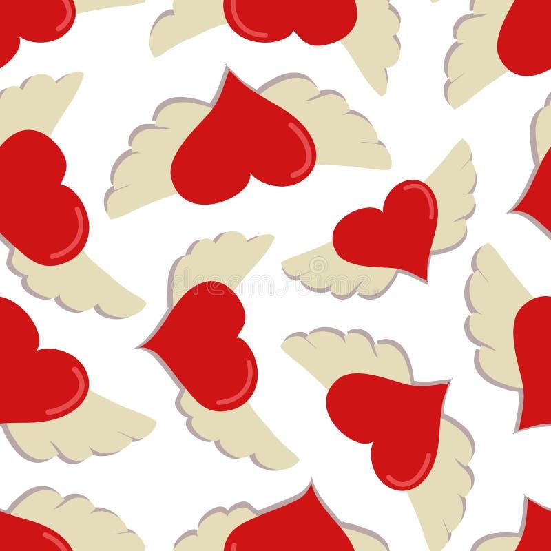 Сердца с картиной вектора крыльев безшовной на белой предпосылке бесплатная иллюстрация