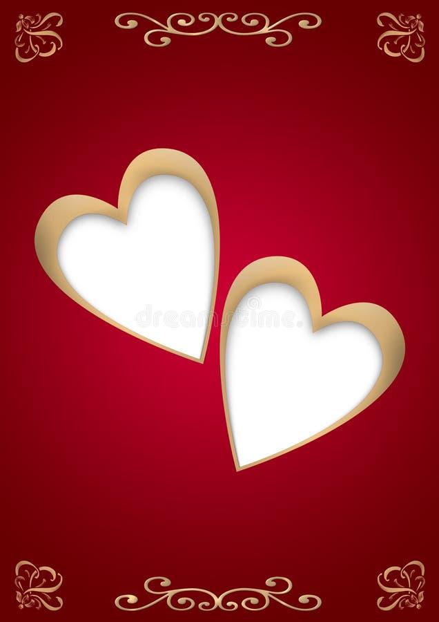 сердца 2 золота иллюстрация штока