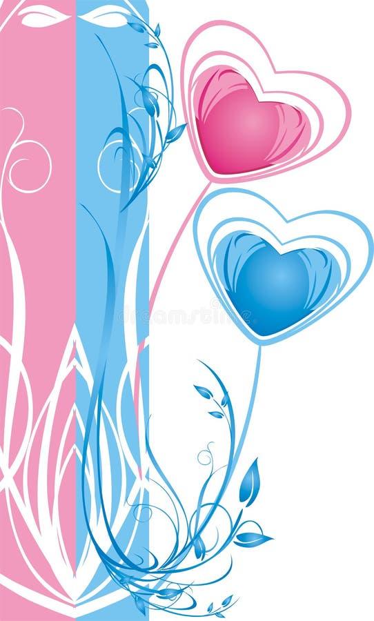 сердца 2 карточки предпосылки декоративные флористические иллюстрация штока