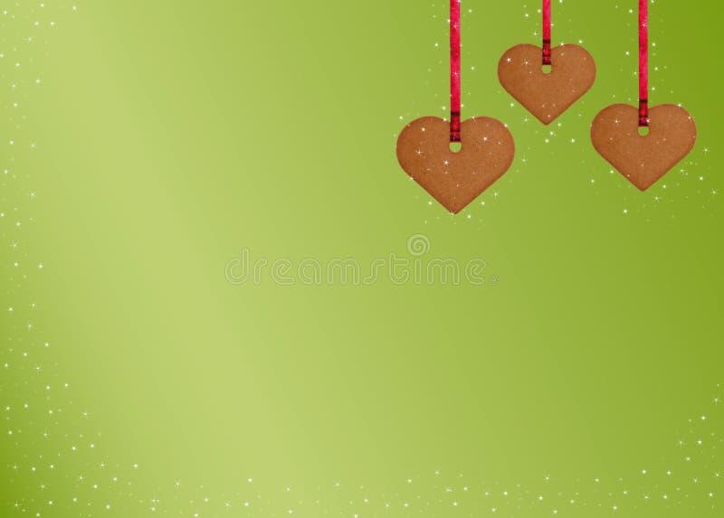 сердца gingerbread печенья предпосылки иллюстрация штока