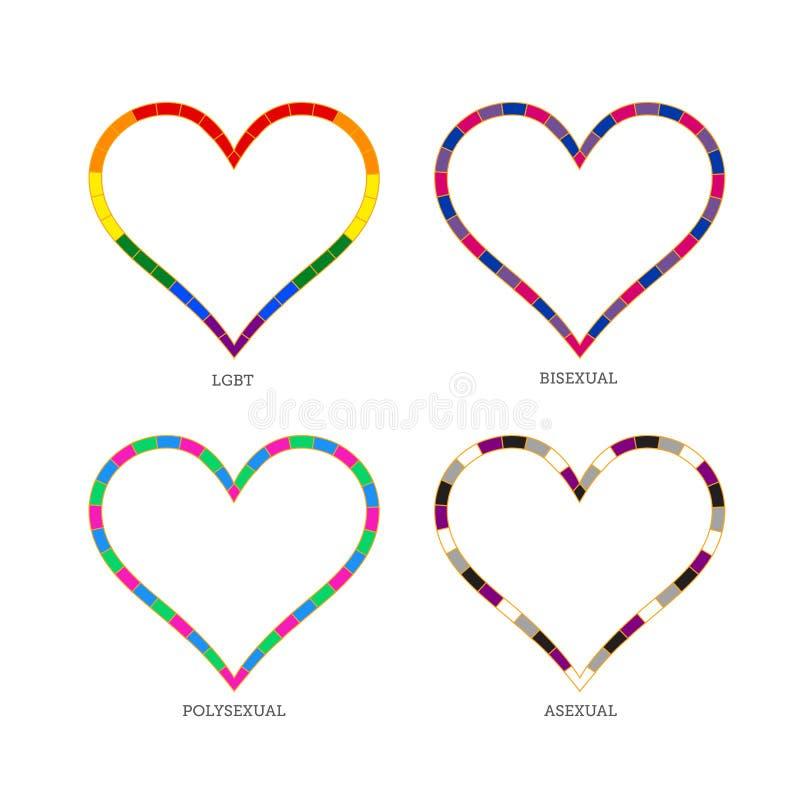 Сердца & x28; LGBTQ& x29; для странной общины стоковые фотографии rf
